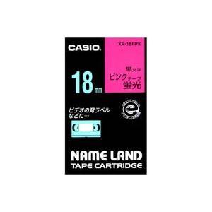 【ポイント10倍】(業務用30セット)カシオCASIO蛍光テープXR-18FPK桃に黒文字18mm【×30セット】