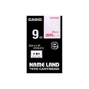 【ポイント10倍】(業務用50セット)カシオCASIO透明テープXR-9XRD透明に赤文字9mm【×50セット】