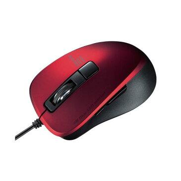 【ポイント10倍】サンワサプライ 静音有線ブルーLEDマウス(5ボタン) レッド MA-BL156R