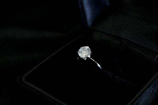 【スーパーSALE限定価格】プラチナPt900 1.0ct一粒ダイヤリング 指輪 (鑑別書付き)  15号