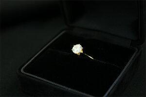 【ポイント10倍】K18イエローゴールド1.0ct一粒ダイヤリング指輪19号