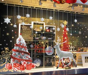 Xmas クリスマスツリー トナカイ 2枚セット シルバー Xmas ウォールステッカー 貼って剥がせる 壁紙 壁シール