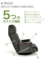 肩まで支えるハイバック!コイルスプリング使用のレバー式無段階リクライニング回転座椅子エグゼ