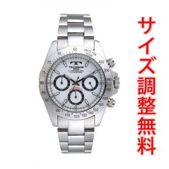 Clock テクノスメンズ watch テクノスダイバーズメンズウォッチクロノグラフ deployment watch silver-white clockface TGM615SW <size adjustment free of charge> fs3gm