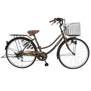 【送料無料自転車デザインフレームで人気】サントラストママチャリ軽快車(ママチャリ)自転車激安ブラウンdixhuit【6段変速ギアおしゃれフレーム26インチ】ギア付鍵付