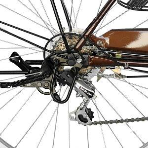 7月下旬以降発送鍵付ギア付26インチフレームdixhuit6段変速ギアブラウンシティサイクル激安軽快車ママチャリ自転車デザインフレームで人気サントラストママチャリ無料自転車送料女の子安いおしゃれ
