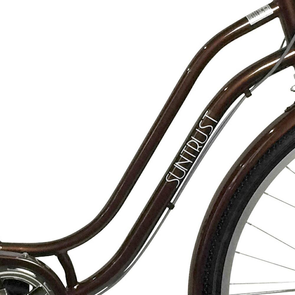 7月上旬以降発送 配送先一都三県一部地域限定 SSフレーム女性にお勧めの安全性抜群の自転車 オートライト 外装6段ギア ママチャリ27インチ 通学 軽快車 ブラウン 茶色 デザインフレーム なママチャリ 自転車 シティサイクル