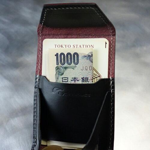 秋得プライス!cyproductカード&コインパースnaked型押しワイン/黒(小銭入れコインケースcoinpursecoincase)