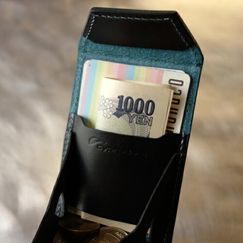 cyproductカード&コインパースnaked型押しブルー/黒(小銭入れコインケースcoinpursecoincase)