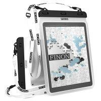 FINON【WATERPOFCASE/防水ケース】クリア防水ケース【10.5-13インチ】大型タブレット対応防水ケース・ネックストラップ・専用ピック付【iPadPro10.5/12.9/XperiaZ/Z2/Z4Tablet/SurfacePro/2/3/4/FJX/SurfaceRT/2/3/記載以外も対応】