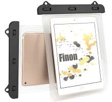 FINON【WATERPOFCASE/防水ケース】クリア防水ケース【7-10インチ】ネックストラップ(首掛け付き)iPadPro9.7インチ・XperiaTablet・iPadAir・iPad】