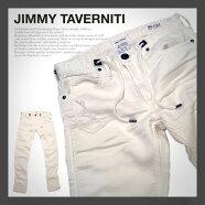 【JIMMYTAVERNITI】ジミータバニティ「Blackie」ブラッキーストレッチスリムテーパードデニット|デニムパンツ|メンズ|ホワイト|白|送料無料|タイト|細身|スリムパンツ|ストレッチパンツ|ロングパンツ
