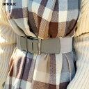 バックルワイドベルト・全4色・d60009 レディース【acc】 韓国 ファッション ベルト ワイドベルト ワイド 太い バックル カジュアル ラフ 牛革 カウレザー シルバー ハイホリHIHOLLI 1