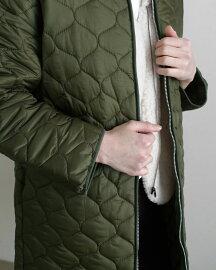 キルティングジップアップジャンパー・全3色b49579レディース【jk】【人気ロングアウターキルティングジャンパー古着風カジュアルラフストリート冬】