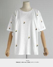 花柄刺繍ドロップショルダーTシャツ・全2色・t47744レディース【tops】【トップス半袖薄手刺繍トップスフラワー花柄薄手人気】