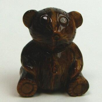 タイガーアイクマさん(メノウ台座付き)《石のくま》《クマ・くま置物》