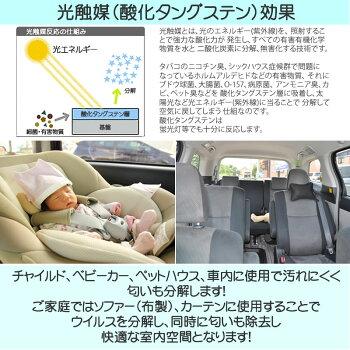 ウイルス蔓延!パワーUPして再販決定!光触媒でウイルス分解!車内、部屋の臭いも即解決!抗菌力