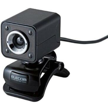 ELECOM WEBカメラ 130万画素 1/4インチCMOSセンサ ガラスレンズ・LEDライト搭載 マイク内蔵 イヤホンマイク付 ブラック UCAM-DLK130TBK