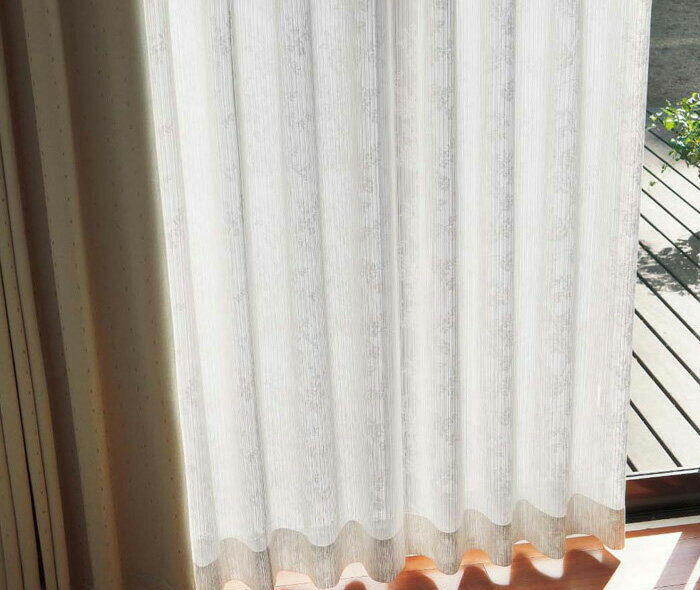 【送料無料】オーダーカーテン▼ソフトウェーブ 2倍ヒダ・下部3ッ巻 機能レース タテ使いレース プルミエ▼川島織物セルコン Premier PL1412D