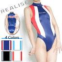 極薄素材を使用した、 体のラインにぴったりフィットする切り替えハイネックタイプ競泳水着。RE...
