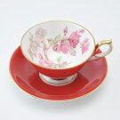 送料無料食器エリザベスローズティーカップ&ソーサーアセンズレッドコーヒーカップティーカップソーサー