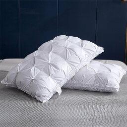 95%白ビロード 羽根枕 安眠枕 まくら 枕 純綿 高級ホテルの寝心地 ふわふわ 快眠枕 横向き対応 立体構造 48x74cm ホワイト 五つ星ホテル 安眠 良い通気性 ふんわり枕 寝具 ミュート