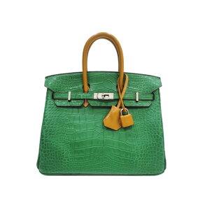 [降价] [与新产品一样] HERMES爱马仕Birkin Touch 25鳄鱼皮垫x巴特勒仙人掌x天然黑貂皮硬件鳄鱼皮二手手提袋手提包绿色绿色异国皮革真皮女士后背品牌