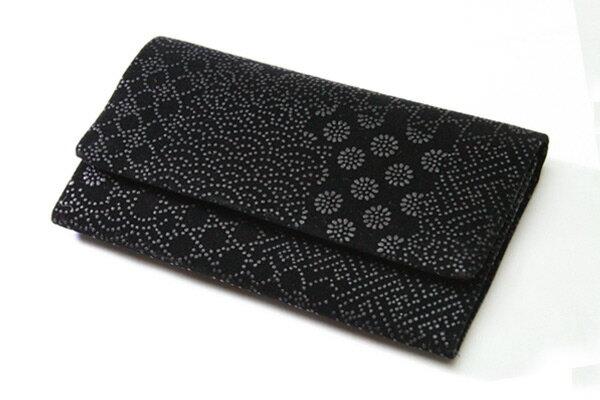 数珠袋 念珠袋 印伝調二つ折型 寄せ柄(黒 黒 7G) 数珠入 念珠入 【クリックポスト配送のみ:送料無料】k12021