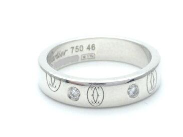 【送料無料】Cartier カルティエ 指輪 ハッピーバースデーリング ホワイトゴールド ダイヤモンド 46号 【412】【中古】【大黒屋】