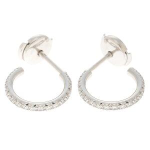 [Free Shipping] TIFFANY&CO Tiffany & co Metro Hoop Earrings Small Earrings Diamond 750WG For Both Ears [460] [Used] [Daikokuya]