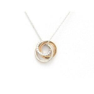 [免费送货] TIFFANY&CO蒂芙尼1837互锁圆形项链K18WG / K18PG(白金/粉红金)钻石4.4g [473] [使用] [Daikokuya]