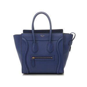 [免费送货] CELINE行李微购物者浮雕蓝色[430] [使用] [Daikokuya]
