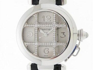 【送料無料】Cartier カルティエ パシャグリット 32mm ダイヤグリット WJ11932G レディース ホワイトゴールド×革(社外ベルト) 自動巻き【430】【中古】【大黒屋】