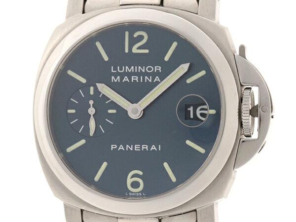 ・2010年国内正規 PANERAI時計ルミノールマリーナPAM00120オートマチックカレンダー機能ブルー文字盤ステンレスス
