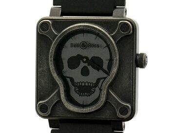 【送料無料】Bell & Ross ベルロス エアボーン2 BR01-92-S ステンレス×ラバー 革 メンズ ブラック ドクロ ガイコツ 世界999本 限定モデル 【203】【中古】【大黒屋】