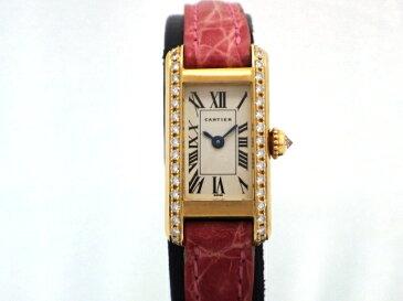 【送料無料】Cartier カルティエ 時計 タンクアロンジェ YG/革 ダイヤベゼル 電池式【430】【中古】【大黒屋】