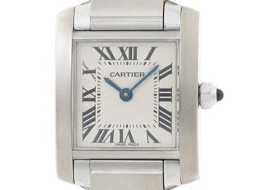 【送料無料】Cartier カルティエ 時計 2384 タンクフランセーズ クオーツ レディース SM ステンレススチール ホワイト文字盤【410】【中古】【大黒屋】