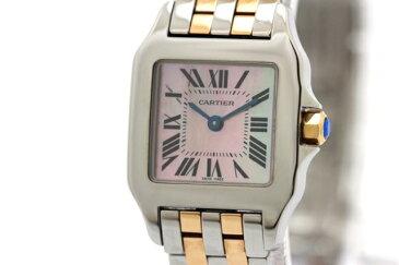 【送料無料】Cartier カルティエ 時計 サントスドゥモアゼルSM W25074Y9 ピンクシェル文字盤 ピンクゴールド×ステンレススチール レディース クオーツ 【200】【中古】【大黒屋】