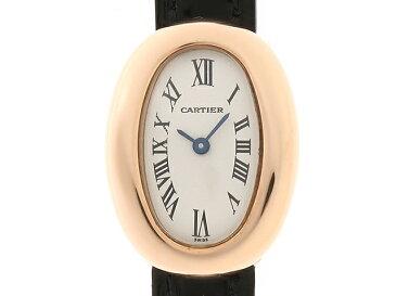 【送料無料】Cartier カルティエ ミニベニュワール ピンクゴールド 革 クオーツ 【437】【中古】【大黒屋】