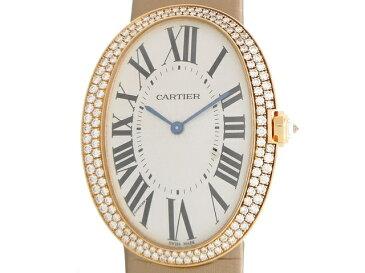 [送料無料]Cartier ベニュワールLM ピンクゴールド ダイヤベゼル サテンベルト 手巻き 【204】【中古】【大黒屋】