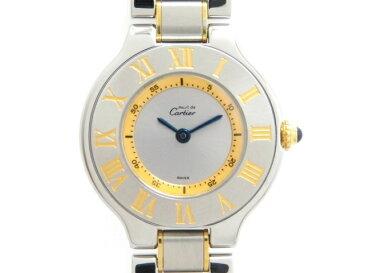 【送料無料】Cartier カルティエ マスト21 マストヴァンティアン 女性用腕時計 クオーツ ステンレス 【474】【中古】【大黒屋】