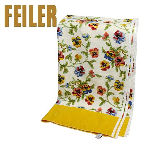 FEILER フェイラー バスタオル ビオラ ホワイト - イエロー 75x150cm Chenille Bath Towel Viola W...