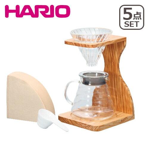 HARIO(ハリオ)V60 オリーブウッドスタンドセット 人気の5点セット!計量スプーン&ペーパーフィ...