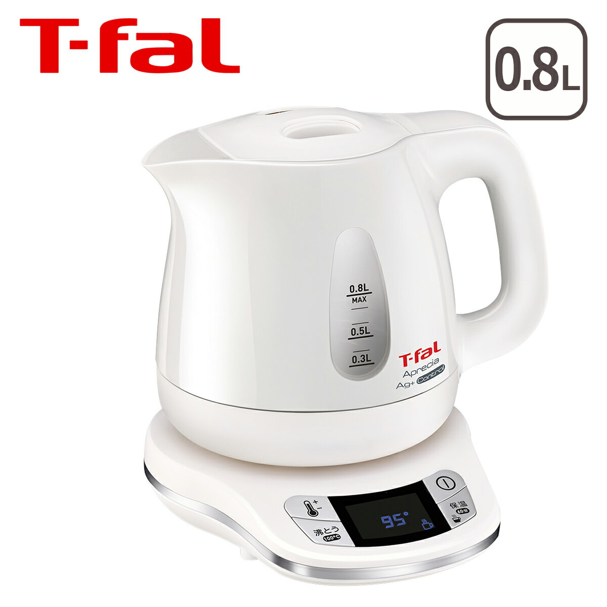 ティファール T-fal 電気ケトル アプレシア エージー・プラス コントロール パールホワイト 0.8L KO6201JP