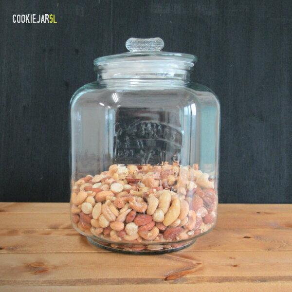 【ガラス容器】アンティーク クッキージャー 5L 保存瓶・保存容器・ガラス瓶 5リットル(お米:4kg用)ガラスジャー 5.0L リビング