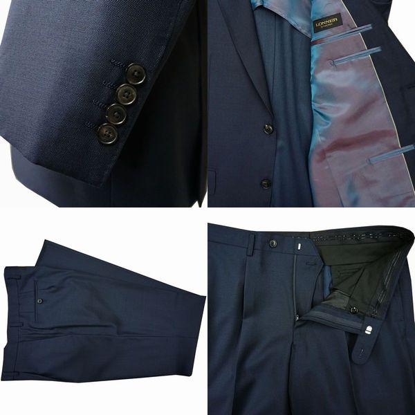 春夏|ロンナー(REDA服地)|メンズスーツ|JPクラシックモデル|シングル2ボタン|L(BE)|ネイビー|日本製|紳士服|メンズ|LONNER|7k010162-0501j