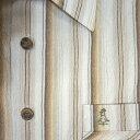 半袖 / カジュアルシャツ / ウェザーコック /吸汗・速乾 / 麻入り強撚糸 / S.M.L /白地に茶系のストライプ / メンズ / 3