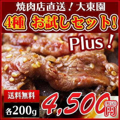 【】大東園 焼き肉お試しセット Plus! お買い得な増量タイプ ご家庭での焼肉に!BBQ バーベキューに! 注文を頂いてから調理し、冷蔵で発送しますので、届いてすぐ食べられます。<のし対応>カルビ、ロース、ホルモン、上ミノ