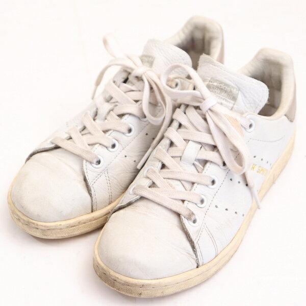 アディダスadidas22.5cmスニーカーメンズスタンスミス定番シューズ紐靴タウンユースレディースホワイトブランド古着 中古