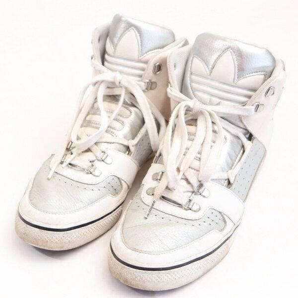 アディダスadidas27.5cmスニーカーメンズトレフォイルロゴオリジナルハードランドハイカットシューズ靴シルバーブランド古着